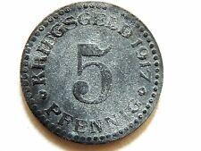 """1917 German """"Residenzstadt Cassell""""  Five (5) Pfennig Kriegsgeld Coin 'Rare'"""