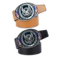 Soaring Eagle USA Flag Belt Buckle Cowboy Motorcyclist Genuine Leather Belt