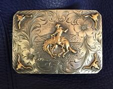 Vintage Sunset Trails Sterling Silver 10K Bronco Buster, Longhorns Belt Buckle