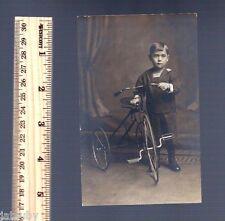 Vintage POSTCARD LITTLE BOY TRICYCLE Trike Uniform Americana
