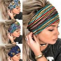 Women Wide Elastic Turban Headwraps Stretch Headband Sports Yoga Gym Hair-Band
