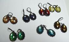 7 Pairs JOAN RIVERS Faceted Lever Back Colorful Drop Dangle Earrings