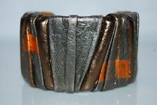 VINTAGE 1980'S DUANE FITZGERALD RUNWAY COUTURE LEATHER BUTTERFLY CUFF BRACELET