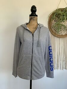 ADIDAS Sleeve Blue Spellout Gray Front Zip Hooded Long Sleeve Sweater Lg 16-18