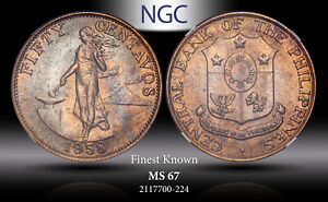 1958 PHILIPPINES 50 CENTAVOS NGC MS 67 FINEST KNOWN *