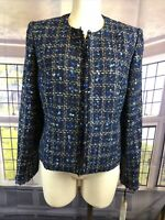 Calvin Klein NWT Size 8 Blue Frayed Plaid Suit Wear to Work Jacket