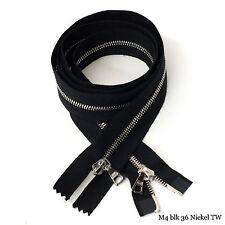 "RiRi Zipper m4, 2 Way Separating End Nickel Black 2110, Twill tape, Flach, 36"""