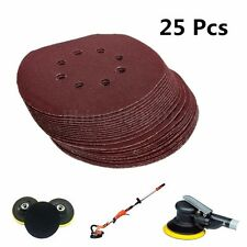 25 x 150mm Sanding Discs Sandpaper Self Adhesive 120Grit Sand Sheets Pads 8 Hole