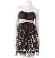 Black Glittery Chiffon Strapless Cocktail Party Dress Prom Wedding Semi-Formal 9