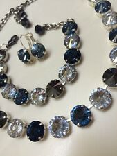 Swarovski crystal elements Necklace Bracelet Earring Blues Jewelry Manhattan 18""