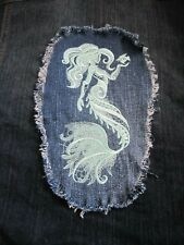 Mint Green Embroidered Mermaid Large Denim Fray Patch / Quilt Square Block