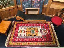 "Exquisite Dollhouse Miniature Artisan Petit Point Silk Rug Persian Carpet 5.5x9"""