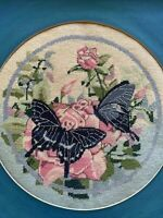 Vintage Petit Point Framed Art Work Blue Butterflies Needlepoint Floral 18""