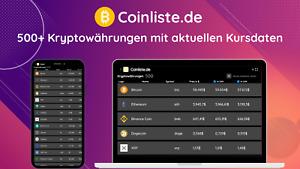 💱 Coinliste.de 📈 500+ Kryptowährungen mit Kursdaten ⭐ Website & App (PWA)
