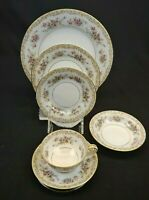 Noritake China Somerset 6 Piece Place Setting Floral with Gold Trim Japan 5317