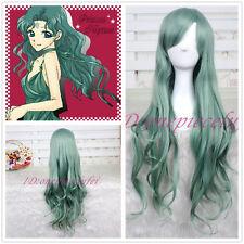 Sailor Moon Michiru Kaiou Neptune green long wavy curly cosplay wigs +a wig cap