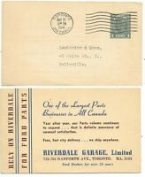 1941 TORONTO, ONTARIO Riverdale Garage advertising on a Stationary Post Card