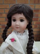 DOLLS WIG IN DARK BROWN WITH PLAITS AND FRINGE KATE  10-11 or  11-12 inch