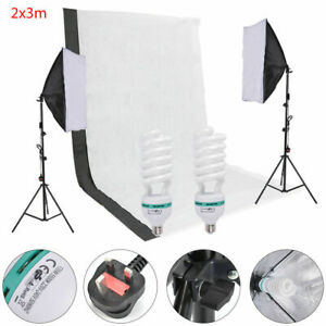 Continuous Softbox Lighting Kit with Light Stands & Backdrop Photography Studio