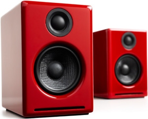 Audioengine A2+ Active Computer PC Speakers PAIR - RED Bluetooth Wireless