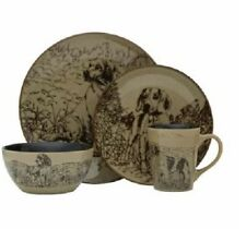 16 PC Dog Dinnerware Dish Set Plates Bowls Mugs Country Kitchen Everyday Rustic