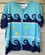 MICHAEL SIMON Lite Top Cardigan Xlarge Blue Fish NWT Embellished Short Sleeve