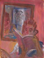 "Russische Avantgarde Öl Leinwand ""Lesender"" 31x24 cm"