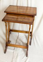 TWO ANTIQUE GOLDEN MAHOGANY NESTING TABLES FOR RESTORATION PROJECT