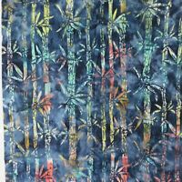 "Tropical Print Blue Green Bamboo Batik Cotton Fabric 1 1/2 yards x 45"" wide"