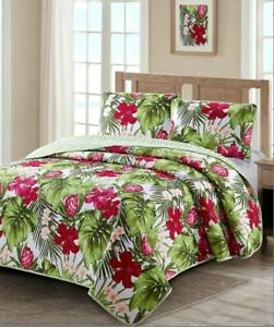 Tropical Palm Leaves & Hawaiian Hibiscus Beach Luau King Quilt & Shams- 3 Piece