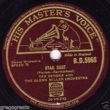 "Tex Beneke W Glenn Miller Orch 78 ""Star Dust/Falling Leaves"" rare BD 5968 EX -"