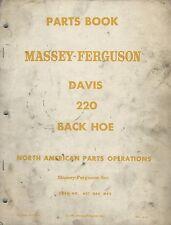 Equipment Manual - Massey Ferguson - Davis 220 Backhoe - Parts - 1961 (E3386)