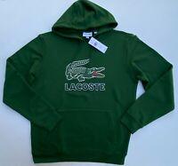 LACOSTE Men Size S / 3 Big Croc Logo Fleece Pullover Sweat Shirt Hoodie NEW