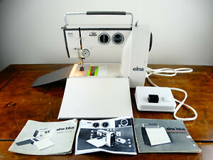 Elna Lotus SP Electric Sewing Machine Portable with Foot Control Tools & Manual