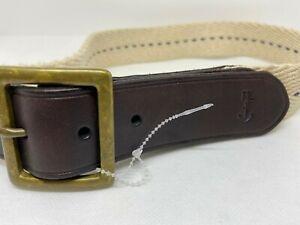 Polo Ralph Lauren Stretch White Braided Cotton Leather Trim Belt RL Anchor Logo