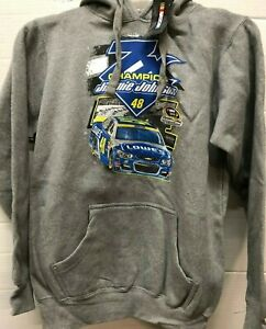 JIMMIE JOHNSON #48 NASCAR  7 TIME CHAMPION GRAY PULLOVER HOODIE XL