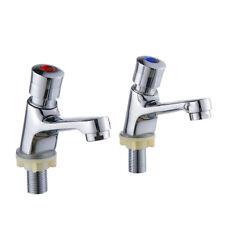 "Fregadero lavabo palanca lavabo baño par 1/2 ""Latón metal cromado caliente frío"
