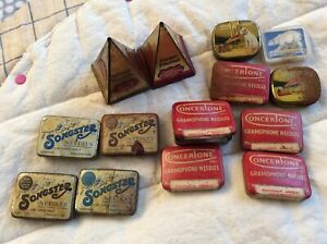 FOURTEEN ANTIQUE GRAMOPHONE OR PHONOGRAPH NEEDLE TINS FROM ENGLAND