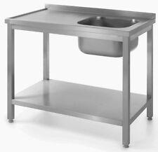 Spültisch Spüle Edelstahl Tisch mit Waschbecken 80x60x85cm Gastro Arbeitstisch