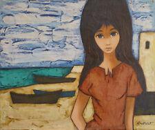 Nadine CHATELOT (1927-1965) HsT Jeune fille en bord de mer Années 50 USA