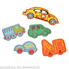5PCs/Set Mixed Cartoon Car Cotton Patch Iron On Garment Accessories Sewing DIY
