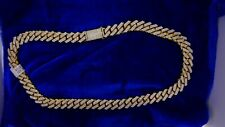 Mens Miami Cuban Link Necklace 10k Gold 44 Cts 1580 Diamonds Sharp Prong Setting