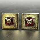 Vintage Gold Tone Red Lucite Fez Shriner Masonic Cufflinks Cuff Links Mason