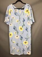 M&S Size 14 Blue Floral Botanical Dress Floaty Sleeves Lined Spring Summer