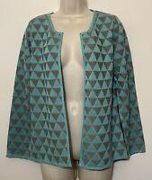 NWT Sigrid Olson Medium Cardigan Teal Gray Knit Silk 3/4 Sleeve Stretch Sweater