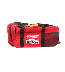 Vintage 90s Marlboro Unlimited Spell Out Box Logo Distressed Duffel Bag Red