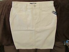 "Ladies ""Chaps"" Size 12, Nat Cream, Button Front, Jeans Style, Straight Skirt"