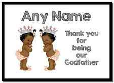 Baby Twin Black Girls Godfather Thank You  Personalised Placemat