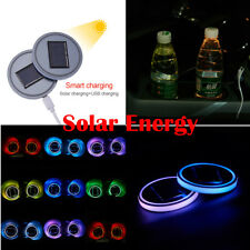 2x Colorful Solar LED Car Cup Bottle Holder Pad Mat For All Car Atmosphere Light