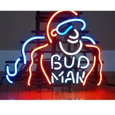 Bud Man Glass Neon Sign Beer Bar Store Garage Party Club Window Display Sign